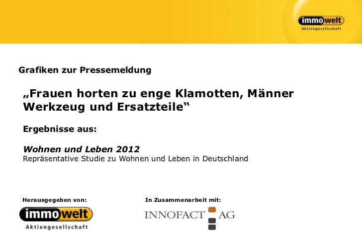 """Grafiken zur Pressemeldung""""Frauen horten zu enge Klamotten, MännerWerkzeug und Ersatzteile""""Ergebnisse aus:Wohnen und Leben..."""