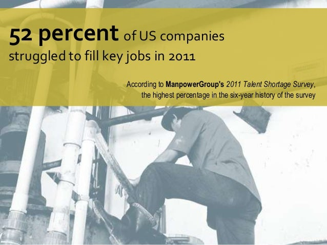 52 percent of US companies struggled to fill key jobs in 2011 According to ManpowerGroup's 2011 Talent Shortage Survey, th...