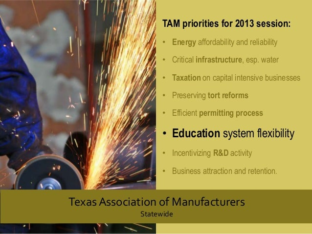 TAM priorities for 2013 session: • Energy affordability and reliability • Critical infrastructure, esp. water • Taxation o...