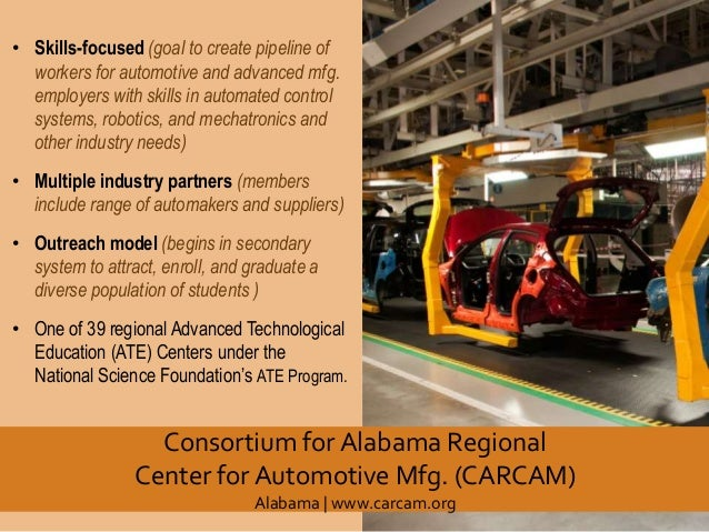 • Skills-focused (goal to create pipeline of workers for automotive and advanced mfg. employers with skills in automated c...