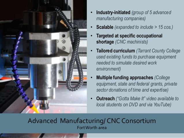 • Industry-initiated (group of 5 advanced manufacturing companies) • Scalable (expanded to include > 15 cos.) • Targeted a...