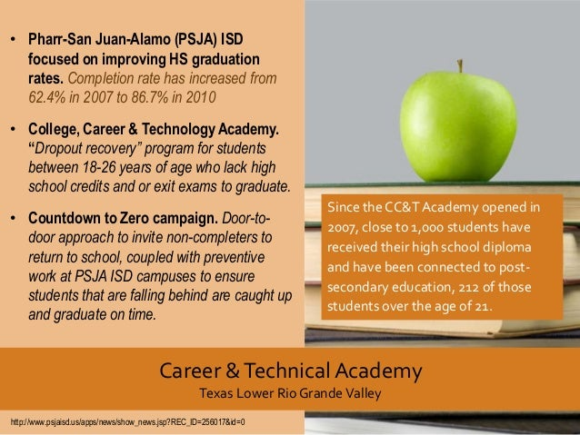 • Pharr-San Juan-Alamo (PSJA) ISD focused on improving HS graduation rates. Completion rate has increased from 62.4% in 20...