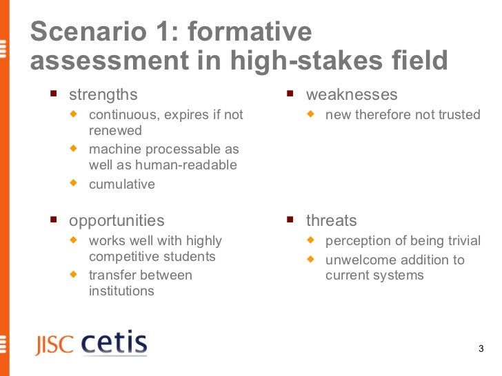 Scenario 1: formativeassessment in high-stakes field    strengths                           weaknesses        continuou...