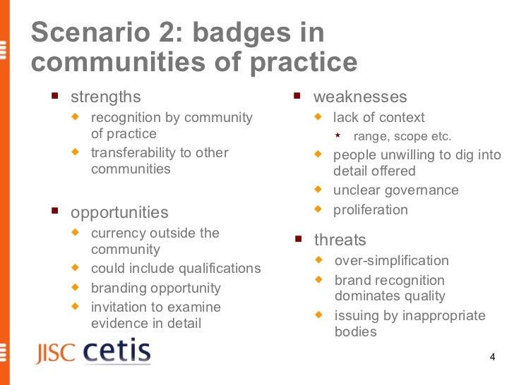 Scenario 2: badges incommunities of practice    strengths                             weaknesses        recognition by ...