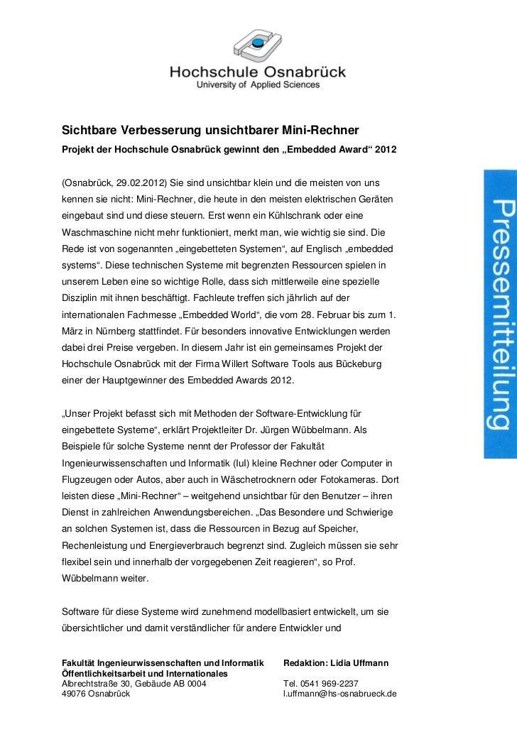 """Sichtbare Verbesserung unsichtbarer Mini-RechnerProjekt der Hochschule Osnabrück gewinnt den """"Embedded Award"""" 2012(Osnabrü..."""