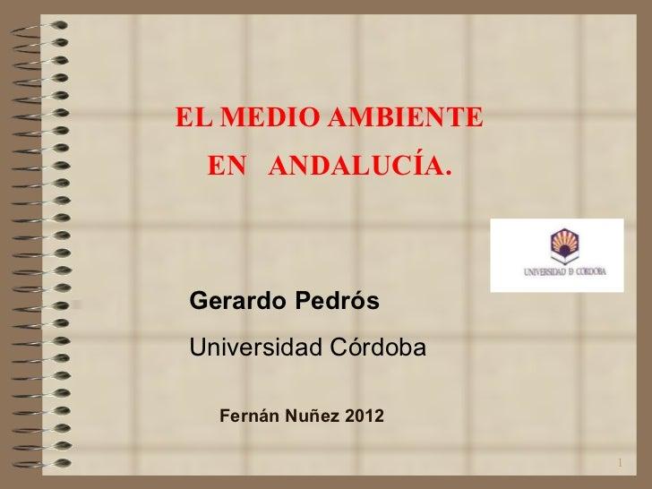 EL MEDIO AMBIENTE  EN  ANDALUCÍA. Gerardo Pedrós Universidad Córdoba Fernán Nuñez 2012