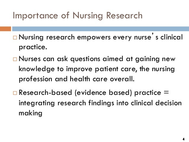 Researches in nursing