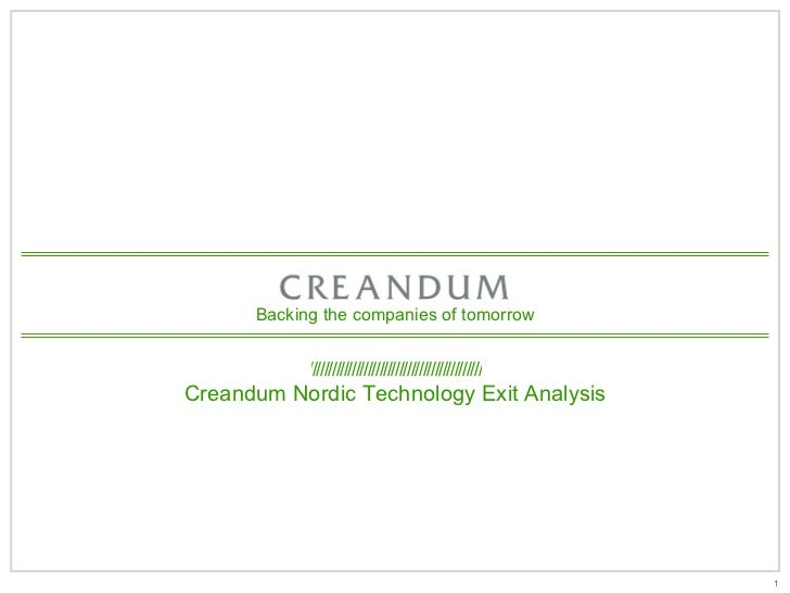 Backing the companies of tomorrow            ////////////////////////////////////////////Creandum Nordic Technology Exit A...