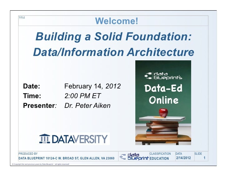 Welcome!         TITLE                           Building a Solid Foundation:                           Data/Information A...