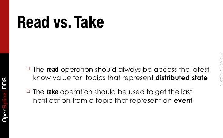 Read vs. Take                                                                               Copyright 2011, PrismTech...