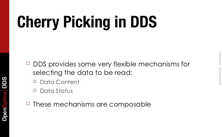 Cherry Picking in DDS                                                                       Copyright 2011, PrismTech...