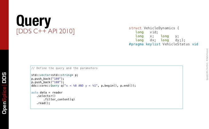QueryAPI 2010]                                            struct VehicleDynamics {                 [DDS C++               ...