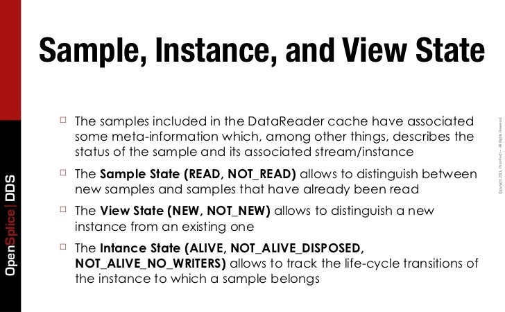 Sample, Instance, and View State                  ☐   The samples included in the DataReader cache have associated        ...