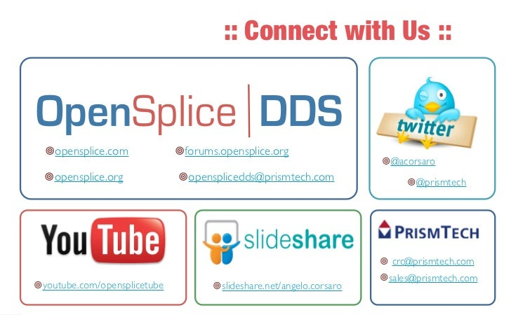 :: Connect with Us ::                   ¥opensplice.com             ¥forums.opensplice.org                              ...