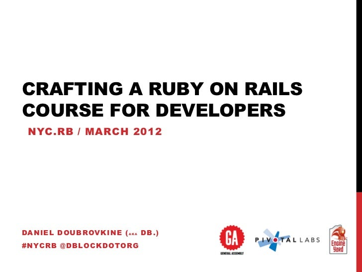 CRAFTING A RUBY ON RAILSCOURSE FOR DEVELOPERS NYC.RB / MARCH 2012DANIEL DOUBROVKINE ( A K A DB .)#NYCRB @DBLOCKDOTORG