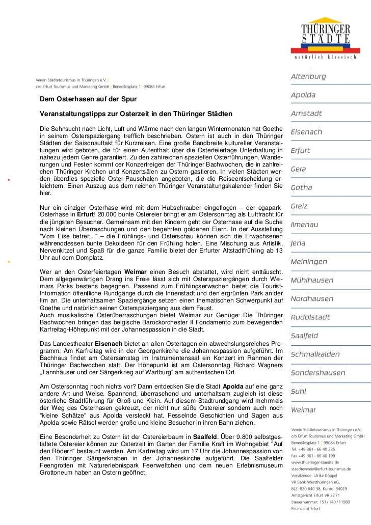 Dem Osterhasen auf der SpurVeranstaltungstipps zur Osterzeit in den Thüringer StädtenDie Sehnsucht nach Licht, Luft und Wä...