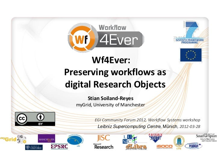 Wf4Ever:Preserving workflows asdigital Research Objects       Stian Soiland-Reyes  myGrid, University of Manchester       ...