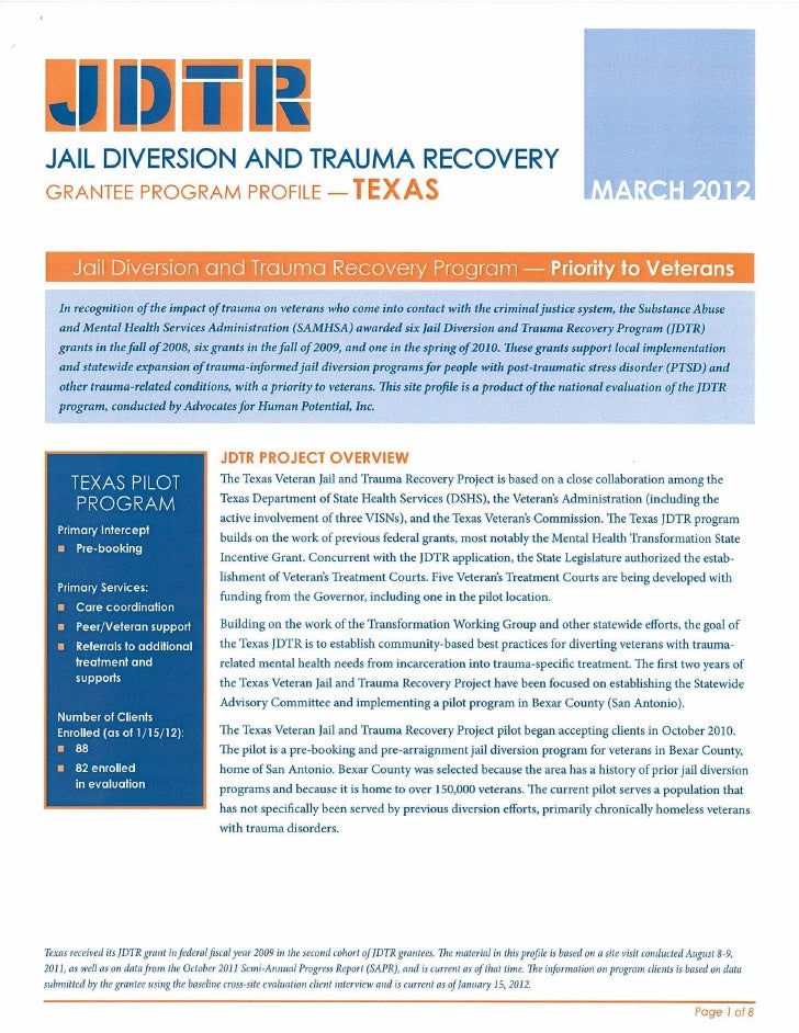 Veterans Jail Diversion and Trauma Recovery Program