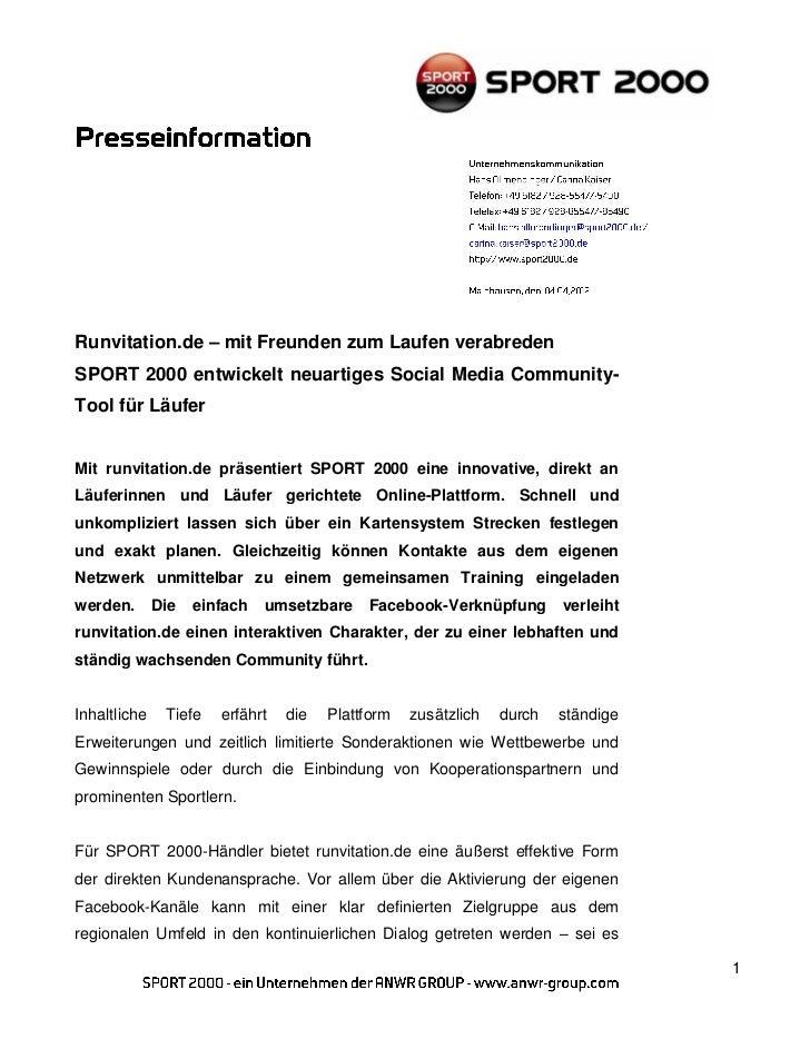 Runvitation.de – mit Freunden zum Laufen verabredenSPORT 2000 entwickelt neuartiges Social Media Community-Tool für Läufer...