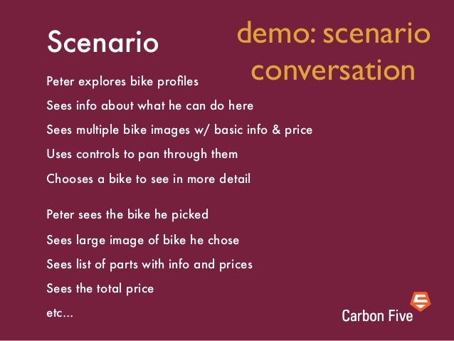 Scenario [element names]Peter explores bike profiles on the CHOOSE BIKE PAGE Sees info about what he can do here [Content b...
