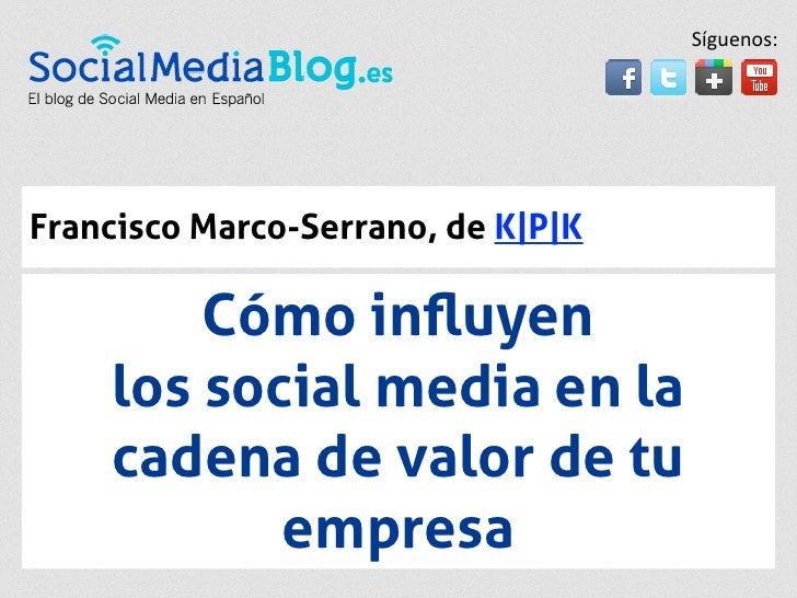 Síguenos:Francisco Marco-Serrano, de K|P|K        Cómo influyen    los social media en la    cadena de valor de tu         ...