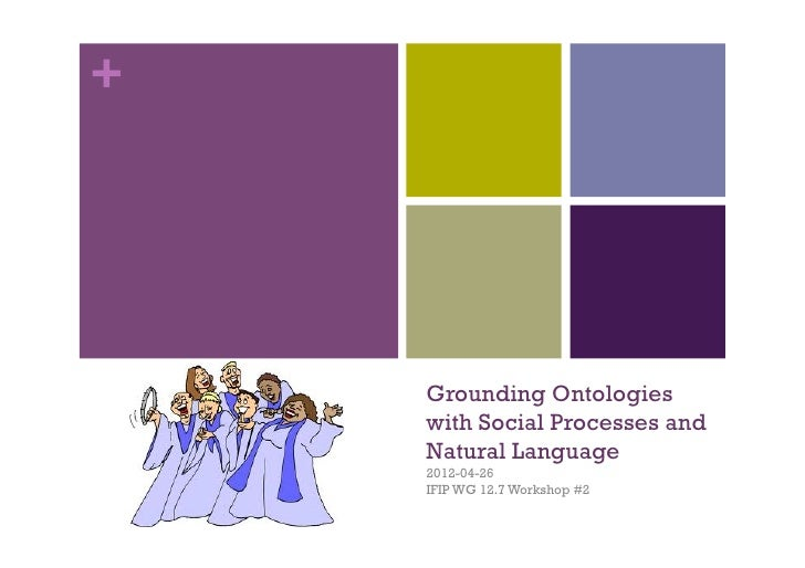 +    Grounding Ontologies    with Social Processes and    Natural Language    2012-04-26    IFIP WG 12.7 Workshop #2