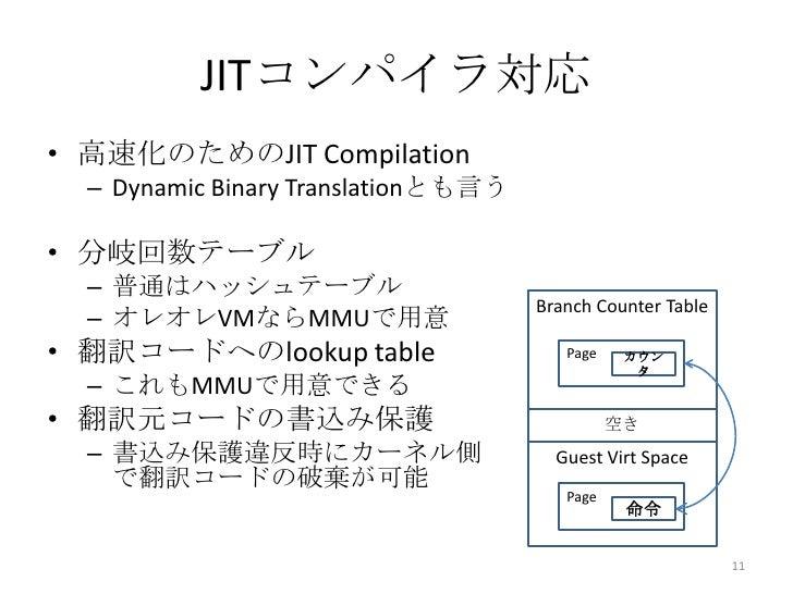 JITコンパイラ対応• 高速化のためのJIT Compilation  – Dynamic Binary Translationとも言う• 分岐回数テーブル  – 普通はハッシュテーブル                             ...