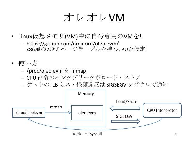 オレオレVM• Linux仮想メモリ(VM)中に自分専用のVMを!  – https://github.com/nminoru/oleolevm/    x86風の2段のページテーブルを持つCPUを仮定• 使い方  – /proc/oleole...