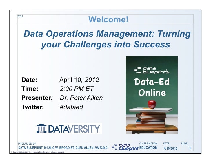 Welcome!         TITLE                 Data Operations Management: Turning                     your Challenges into Succes...