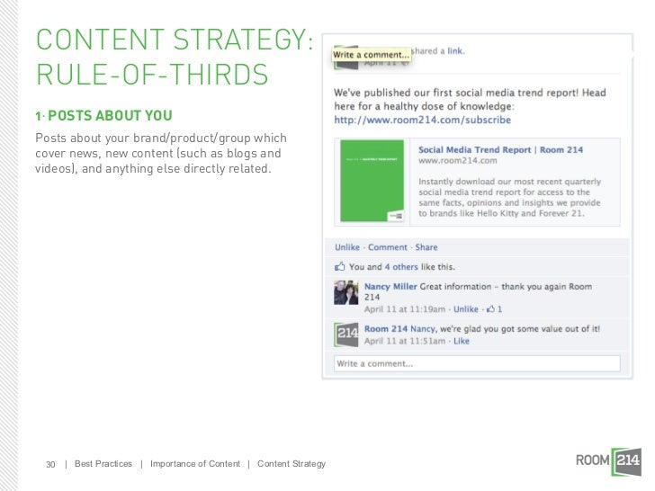 CONTENT STRATEGY:RULE-OF-THIRDS1. POSTS ABOUT YOUPosts about your brand/product/group whichcover news, new content (such a...