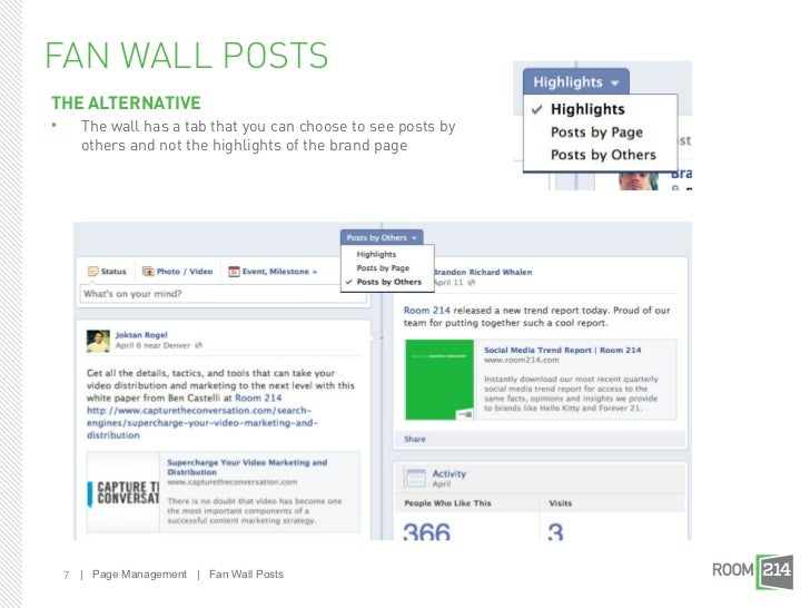 FAN WALL POSTSTHE ALTERNATIVE     The wall has a tab that you can choose to see posts by      others and not the highligh...