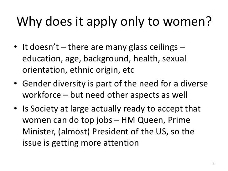 the glass ceiling essay Increasingly, women are bumping into a glass ceiling ann morrison describes  the problem: the glass ceiling is a barrier so subtle that it is transparent, yet so.