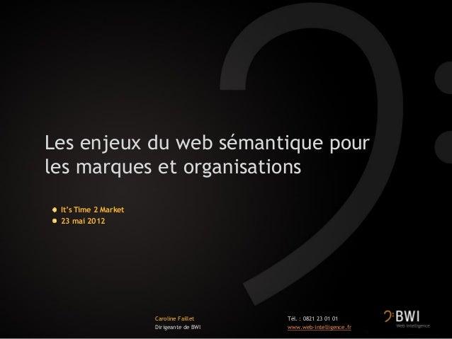 Les enjeux du web sémantique pourles marques et organisationsIt's Time 2 Market23 mai 2012Caroline FailletDirigeante de BW...