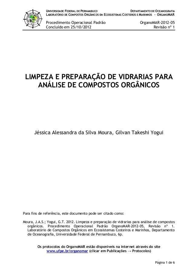 UNIVERSIDADE FEDERAL DE PERNAMBUCO DEPARTAMENTO DE OCEANOGRAFIA LABORATÓRIO DE COMPOSTOS ORGÂNICOS EM ECOSSISTEMAS COSTEIR...