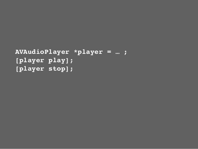 @interface AVAudioPlayer (Fades)- (void) playWithFadeDuration:(float)secs;- (void) stopWithFadeDuration:(float)secs;@prope...
