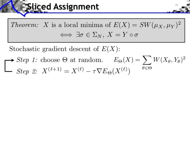 Sliced AssignmentTheorem: X is a local minima of E(X) = SW (µX , µY )2                           N, X = YStochastic gradie...