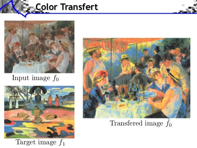pplication to Color Transfer             Color Transfert                               Sliced Wasserstein projection of X ...
