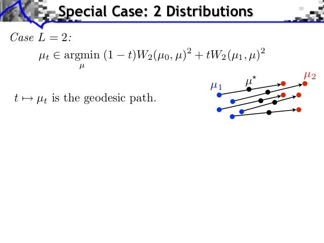 Special Case: 2 DistributionsCase L = 2:     µt argmin (1     t)W2 (µ0 , µ)2 + tW2 (µ1 , µ)2            µ                 ...