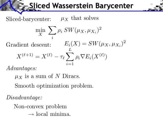 Sliced Wasserstein BarycenterSliced-barycenter:        µX that solves               min        i SW (µX , µXi )2          ...