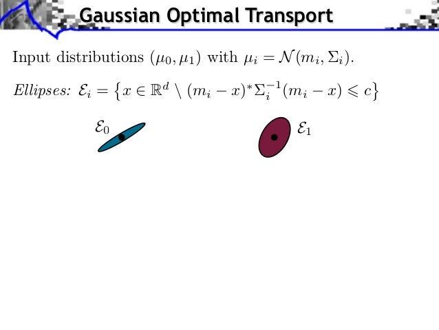 Gaussian Optimal TransportInput distributions (µ0 , µ1 ) with µi = N (mi ,     i ).Ellipses: Ei = x     Rd  (mi    x)   i ...