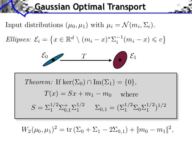 Gaussian Optimal TransportInput distributions (µ0 , µ1 ) with µi = N (mi ,                     i ).Ellipses: Ei = x       ...
