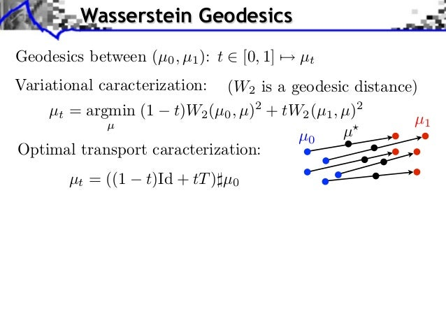 Wasserstein GeodesicsGeodesics between (µ0 , µ1 ): t     [0, 1]   µtVariational caracterization: (W2 is a geodesic distanc...