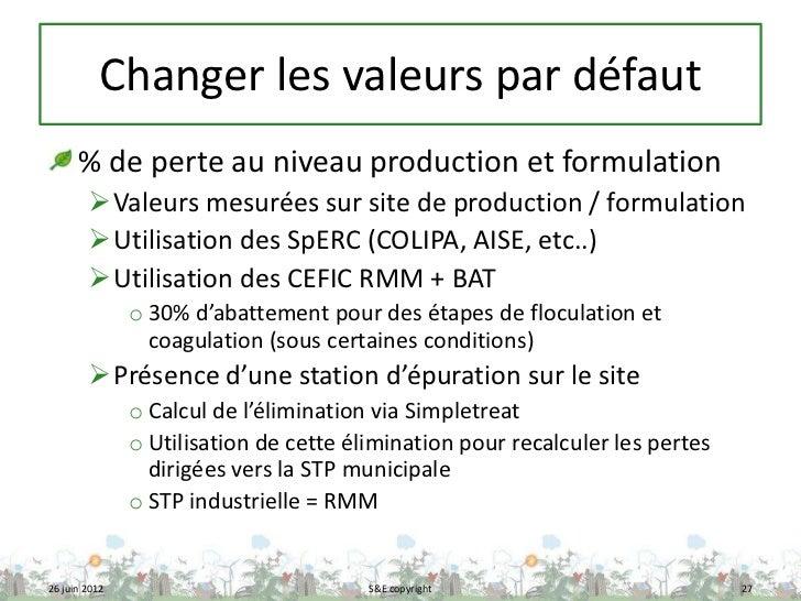 Changer les valeurs par défaut      % de perte au niveau production et formulation        Valeurs mesurées sur site de pr...