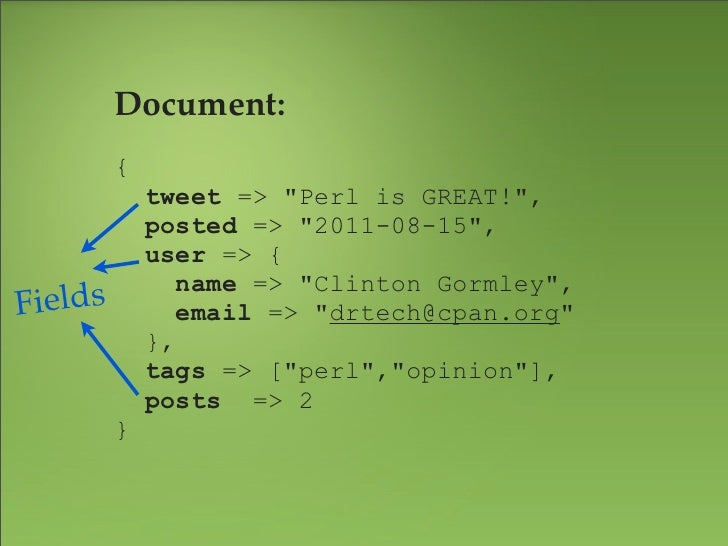 """Document:                                    Values{    tweet => """"Perl is GREAT!"""",    posted => """"2011-08-15"""",    user => {..."""