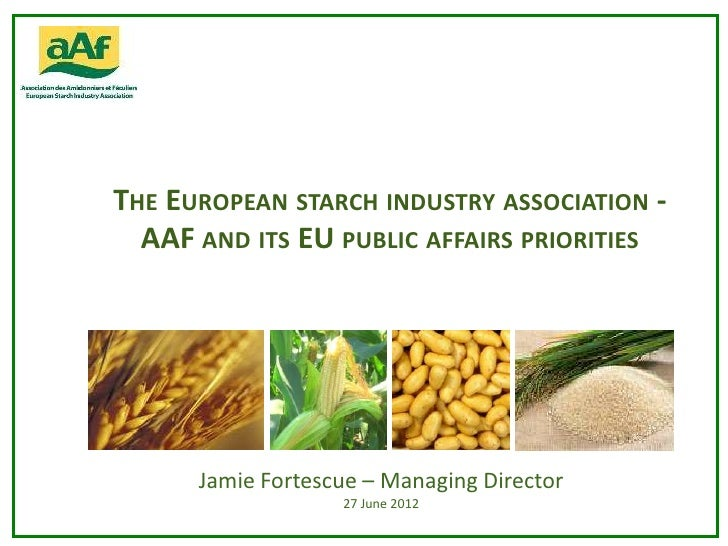 THE EUROPEAN STARCH INDUSTRY ASSOCIATION -  AAF AND ITS EU PUBLIC AFFAIRS PRIORITIES      Jamie Fortescue – Managing Direc...