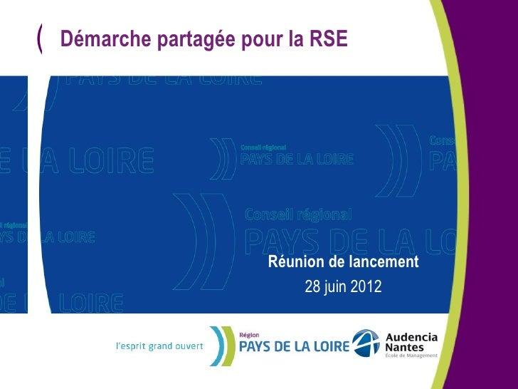 (   Démarche partagée pour la RSE                        Réunion de lancement                            28 juin 2012