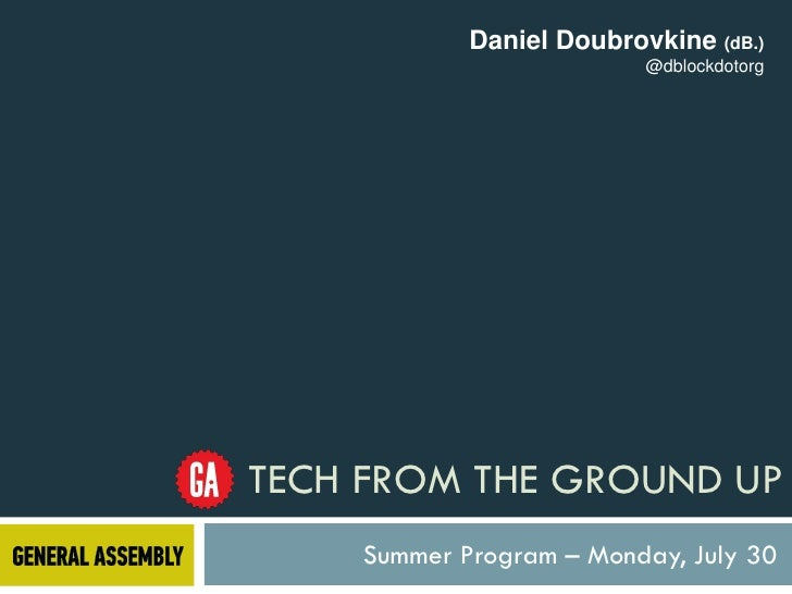 Daniel Doubrovkine (dB.)                          @dblockdotorgTECH FROM THE GROUND UP    Summer Program – Monday, July 30