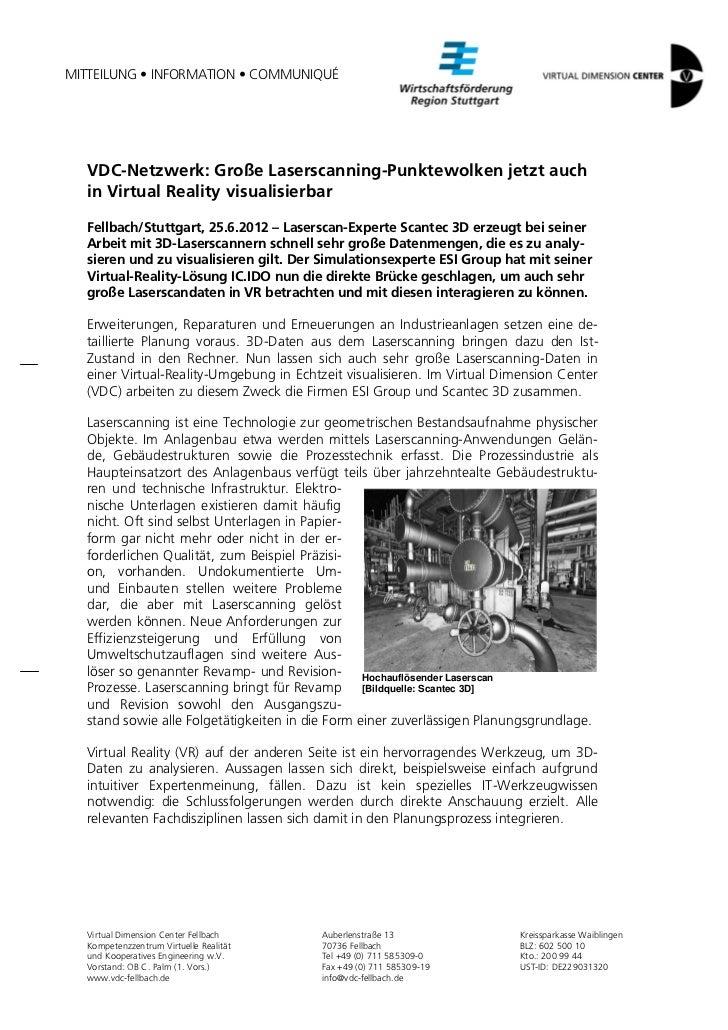 MITTEILUNG • INFORMATION • COMMUNIQUÉ  VDC-Netzwerk: Große Laserscanning-Punktewolken jetzt auch  in Virtual Reality visua...