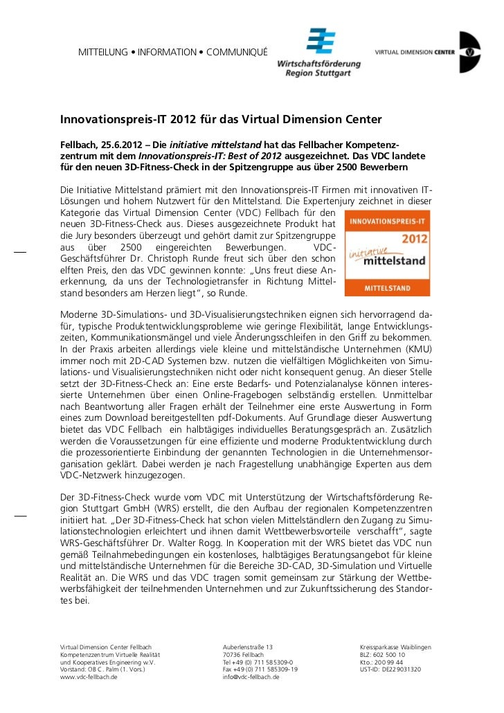 MITTEILUNG • INFORMATION • COMMUNIQUÉInnovationspreis-IT 2012 für das Virtual Dimension CenterFellbach, 25.6.2012 – Die in...