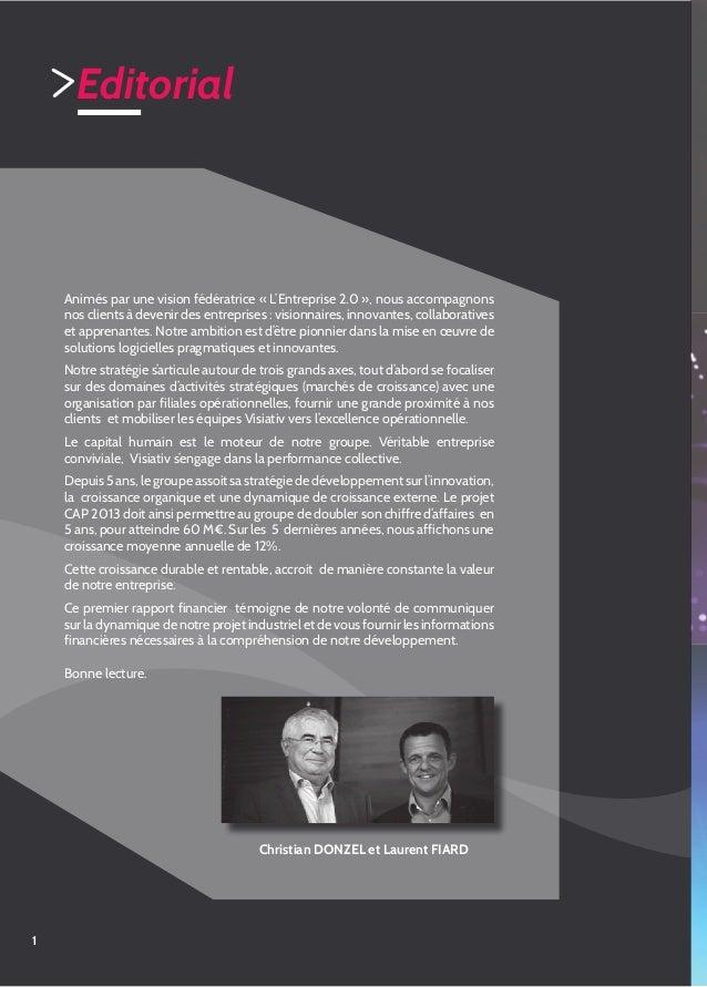 Rapport d'activité Groupe Visiativ 2011 Slide 2